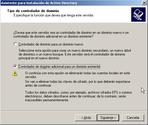 Crear controlador de dominio adicional a uno existente