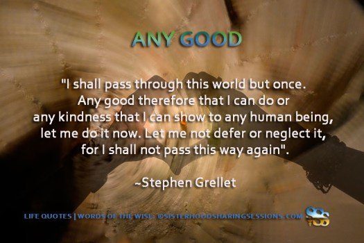 Life Quotes | Words Of The Wise: Any Good-Stephen Grellet