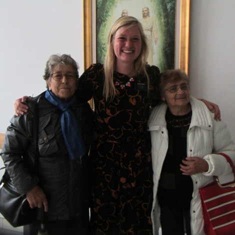 Sister Schill with some sisters from the ward
