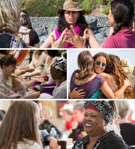 A collage of women gathering in circle