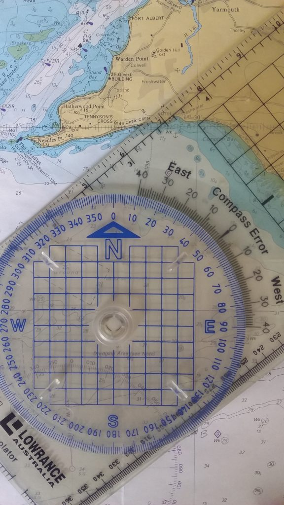 bi rola measuring direction on a nautical chart