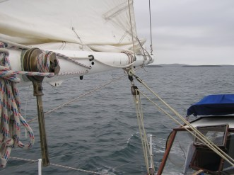 Preventer comes back into cockpit and secured onto Sampson post.