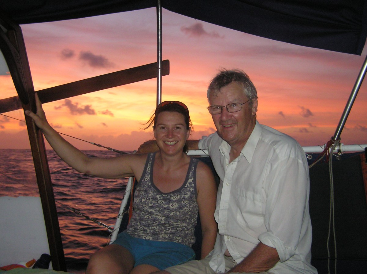 Jackie with her dad who was temporary crew. They've just sailed into the shores of Jamaica for an overnight rest
