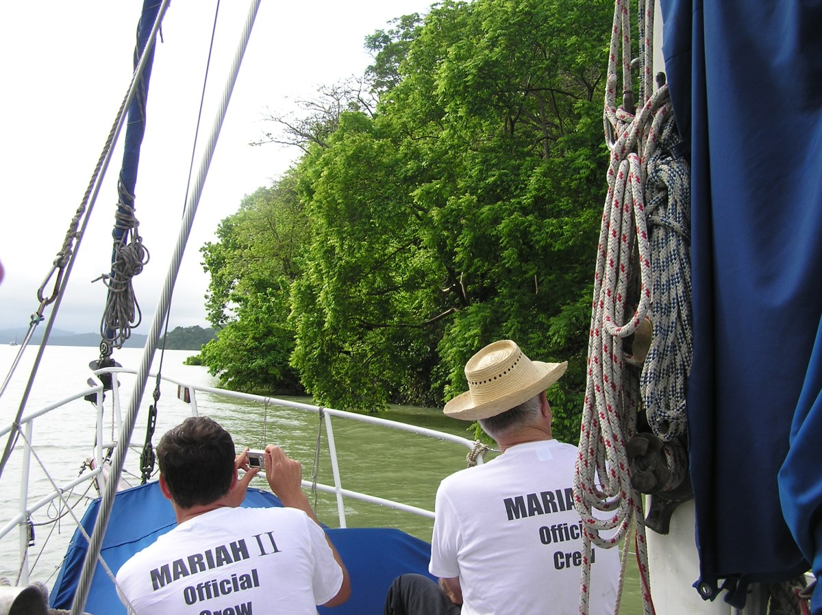 Traversing the small canal - the Banana Cut - the crew on Mariah get a chance to rest and enjoy the view, on the top of a hill in Panama!