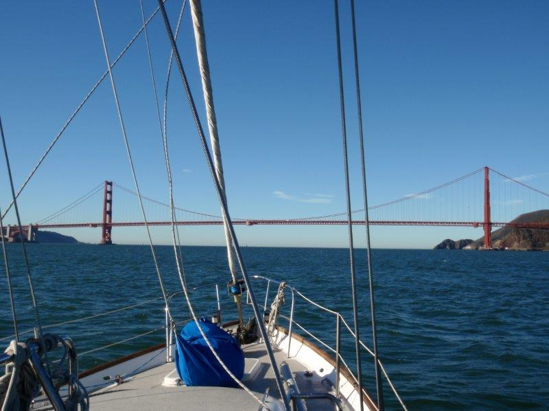 Excited adrenaline sailing under the Golden Gate Bridge in San Francisco - our thoughts were firmly in the moment here!