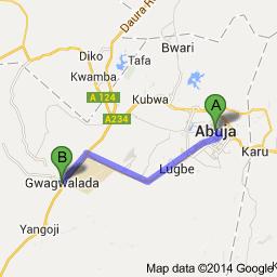 Map Abuja to Gwagwalada