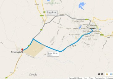 Abuja to Gwadwalada: 45 minutes drive time.  About the same as Detroit to Ann Arbor