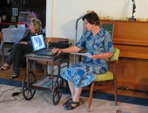 Sr. Barbara showing PowerPoint