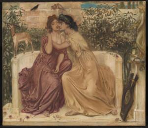 Sappho and Erinna in a Garden at Mytilene 1864 Simeon Solomon 1840-1905 Purchased 1980 http://www.tate.org.uk/art/work/T03063