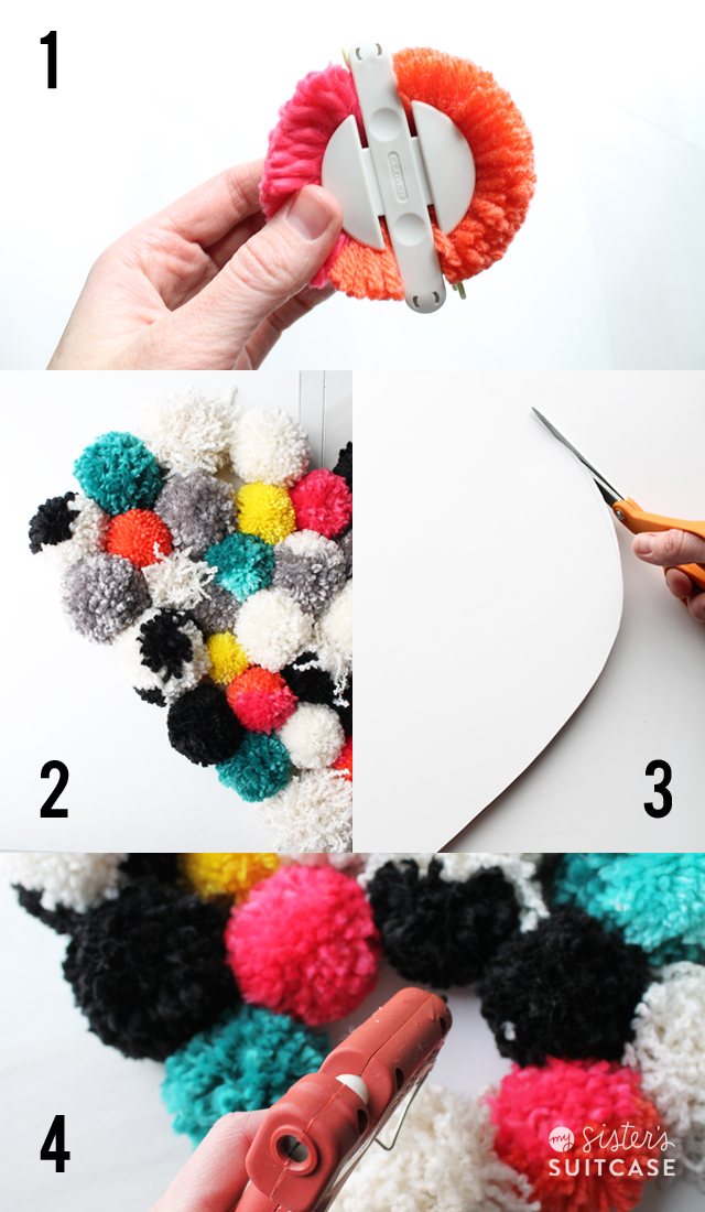 Making a pom pom wall hanging