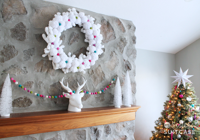 White pom pom wreath Christmas decor