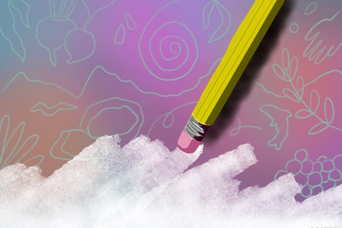 A classic yellow pencil is erasing the background, a colorful gradient with light blue line drawings of nature-inspired symbolism.
