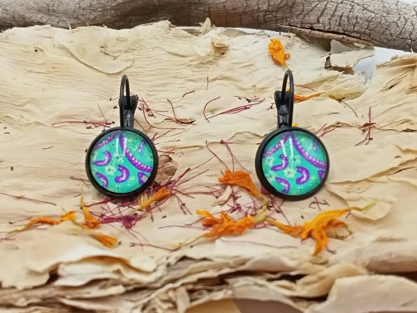 Paper on glass earrings