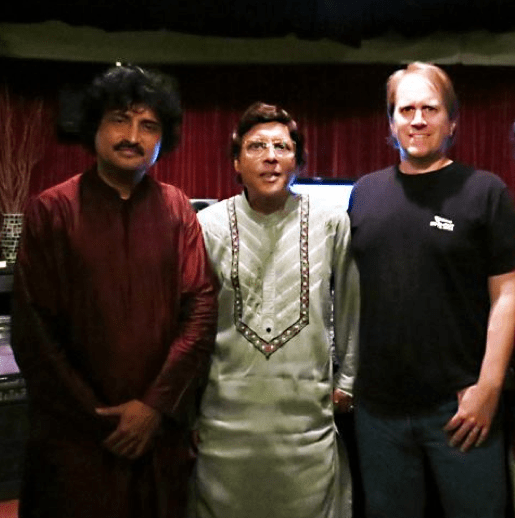 At the recording of Srishti Cd with Pandit Anindo Chatterjee