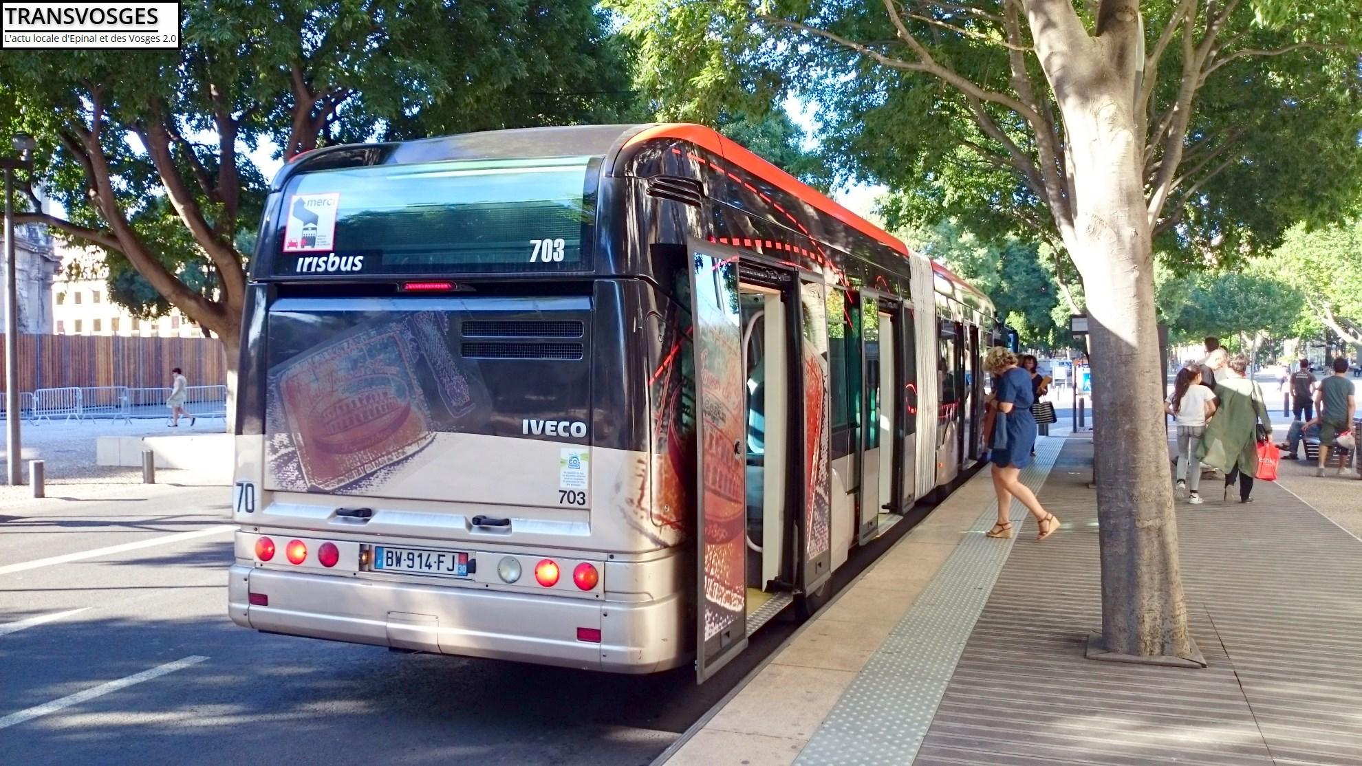 BHNS Irsibus Citélis du réseau urbain de Nimes le 27/06/2016.