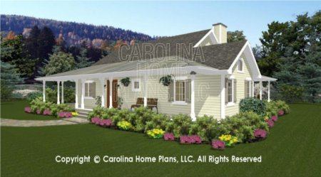 3D Images For CHP SG 1280 AA   Small Country Cottage 3D House Plan Views SG 1280 3D Front Right View