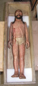 Christ au tombeau, bois sculpté polychrome début 19ème