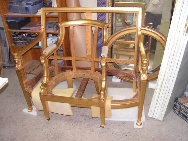 Ensemble de sièges Directoire en bois doré