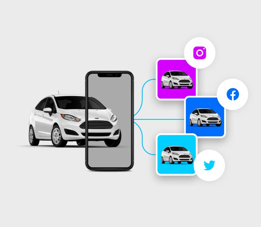 carro sendo compartilhado em varias redes sociais