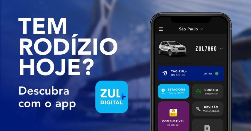 """Banner publicitario com foto do app Zul+ ao lado texto """"Tem rodízio hoje? Descubra com o app Zul+""""."""