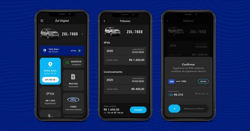 telas do app zul+ em pagamento do ipva parcelado