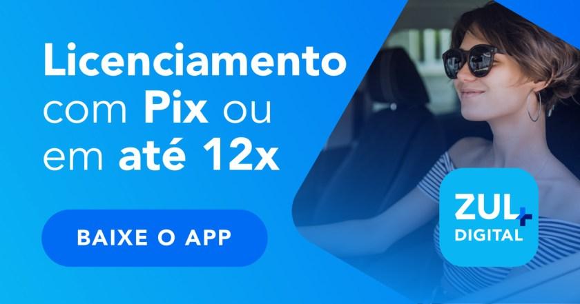 banner licenciamento com Pix ou em até 12x no Zul+ baixe o app