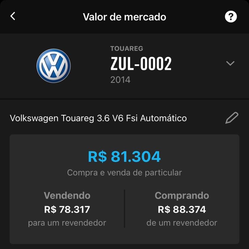 valor de mercado volkswagen touareg 2014