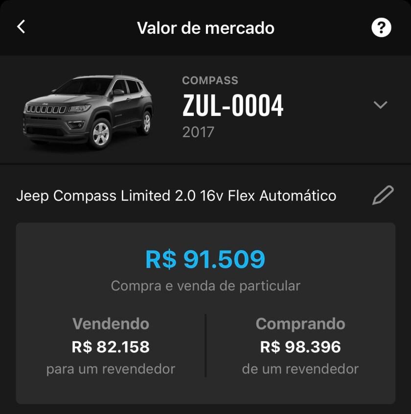 valor de mercado jeep compass 2017