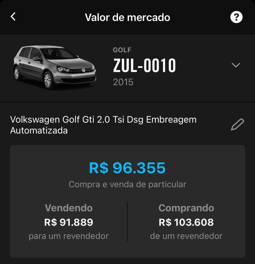 valor de mercado volkswagen golf gti 2015