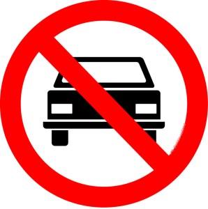 placa de proibida a circulação de veículos automotores