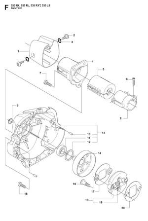 Husqvarna 535 RX Trimmer CLUTCH Spare Parts Diagram