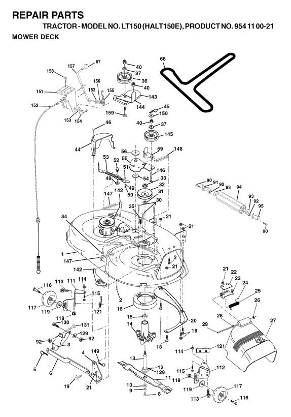 Diagram Deck Deere Lt150 John Belt