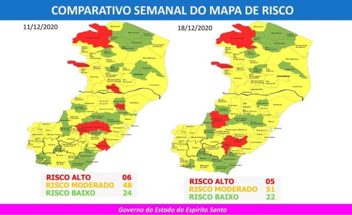 Comparativo entre o 36º e o 35º Mapas de Risco da Covid-19 do Espírito Santo — Foto: Divulgação/Governo ES