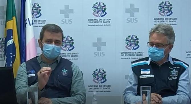 Secretário Estadual de Saúde, Nésio Fernandes, e o subsecretário Luiz Carlos Reblin — Foto: Reprodução