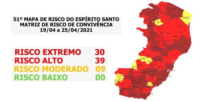 ES tem 30 municípios em risco extremo para a Covid-19 — Foto: Divulgação/Governo do ES