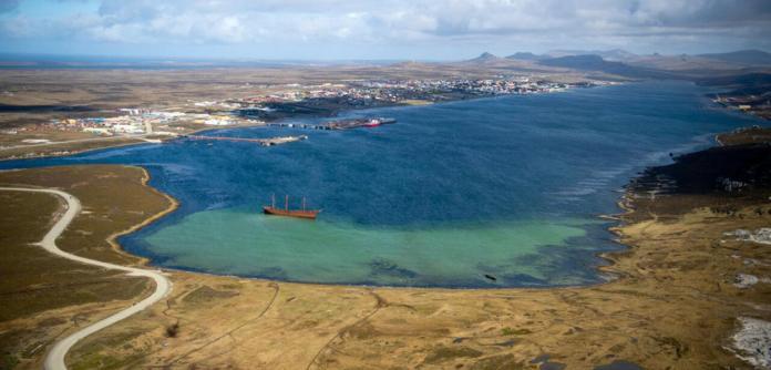 Vista Aérea de Puerto Argentino, Ilhas Malvinas