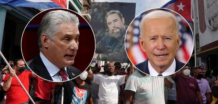 Presidentes de Cuba, Miguel Díaz-Canel Bermudez, e dos EUA, Joe Biden, mais protestos contra o governo cubano ao fundo