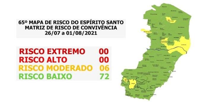ES tem 72 cidades em risco baixo para Covid-19 e seis em moderado — Foto: Divulgação/Governo do ES