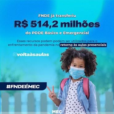 FNDE já transferiu R$ 514,2 milhões do PDDE Básico e Emergencial