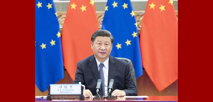 O presidente chinês, Xi Jinping, na videoconferência com líderes da Alemanha e União Europeia