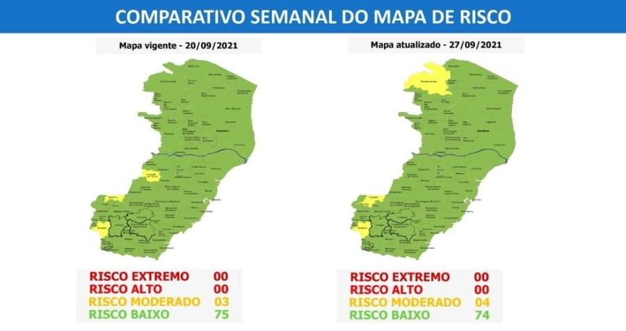 Mapa de risco do Espírito Santo — Foto: Divulgação/Governo do Espírito Santo