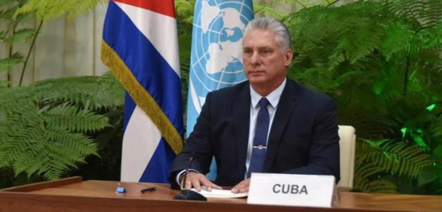 O presidente de Cuba Miguel Díaz-Canel