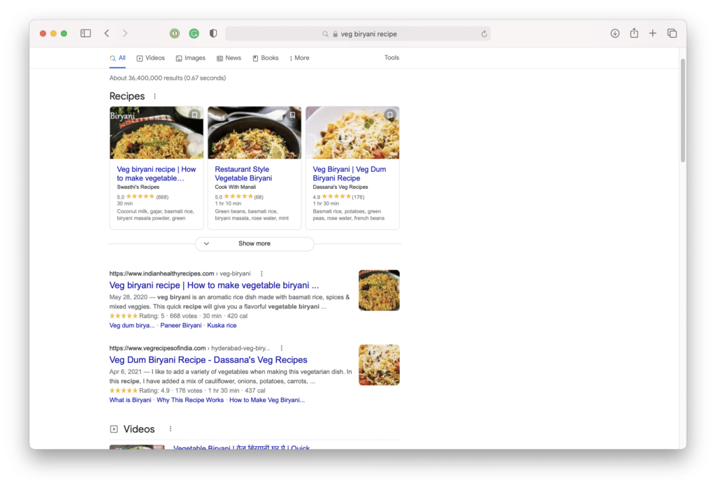 This image shows the Google SERP feature for recipes, which pulls in images and ratings from tip recipes related to a search query.