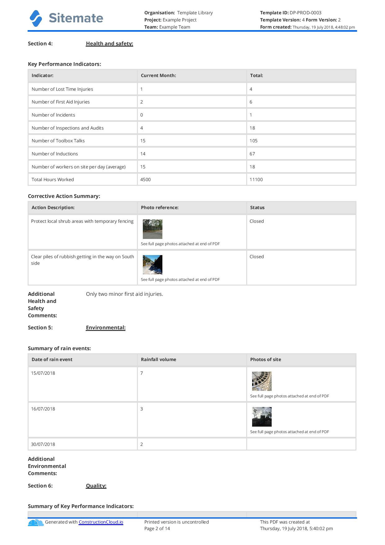 Monthly Construction Progress Report Template Use This