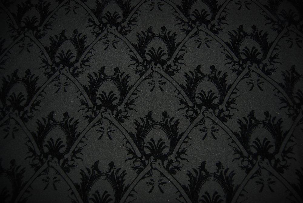 Damask Black Skulls Fabric