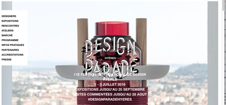 Capture du site Design Parade Hyères