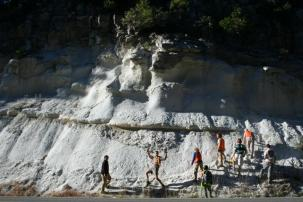 Study of 28.8 million year old volcanic deposits at Skillman Campground, California – these white units are the products of a violent catastrophic eruption that occurred ~ 250 km to the east in the central Nevada ignimbrite province.