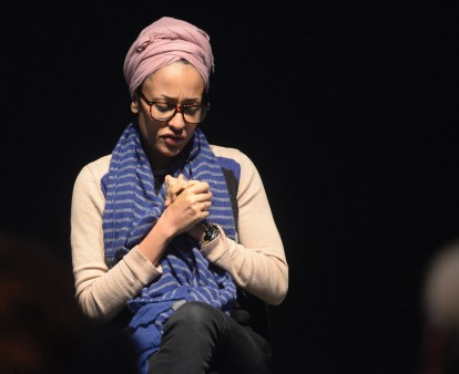 """Zadie Smith, acclaimed author of """"White Teeth"""" and """"NW,"""" spoke in Armstrong Theatre during the 2014 MacLean Symposium on Globalization, Culture, and Literature."""