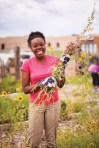 Sabre Morris '18 works on a garden at a school in Taos, New Mexico, during her CC New Student Orientation trip. Photo by Veronica Spann '15