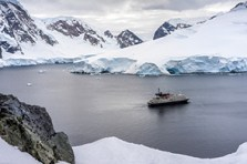 The travelers' home for 10 days, The Corinthian, seen from a steep snowy ridgeline above Orne Harbor. Photo courtesy of CC Antarctica group